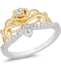 enchanted disney fine jewelry diamond belle 30th anniversary rose tiara ring (1/5 ct. t.w.) in 14k white gold & 14k yellow gold