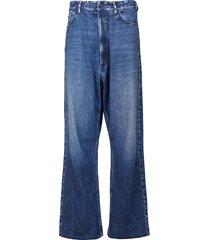 trompe l'oeil wide leg jeans blue