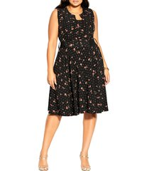city chic petal spot belted fit & flare dress, size medium at nordstrom