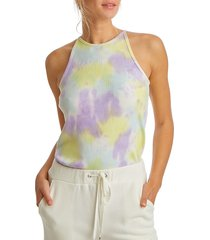 juicy couture women's tie-dye ribbed tank top - candy green - size m