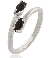 anel narcizza curvado com dois mini navetes onix banhado no rã³dio branco - a007(3) multicolorido - multicolorido/prata/preto - feminino - dafiti
