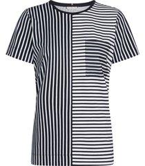camiseta manga corta de rayas blanca azul tommy hilfiger