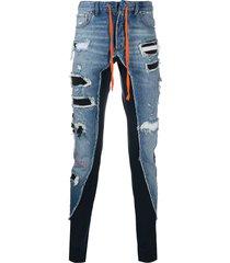 greg lauren x paul & shark distressed combined trousers - blue