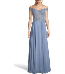 women's xscape off the shoulder embellished gown