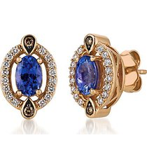 chocolatier® 14k strawberry gold®, blueberry tanzanite®, chocolate diamond® & vanilla diamond® stud earrings