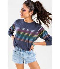 tam rainbow striped sweatshirt - navy