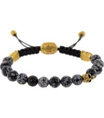 grey obsidian skull bead bracelet