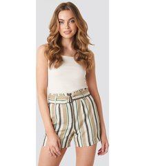 na-kd classic buckle detail shorts - green,multicolor