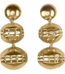goldss double cage clip earrings, women's, josie natori
