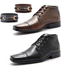 combo duas botas sociais masculina cano curto com pulseiras la faire preto e caramelo