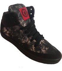 zapatilla negra malcom calzados  skatera flores