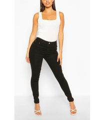 high waist super stretch skinny jeans, black
