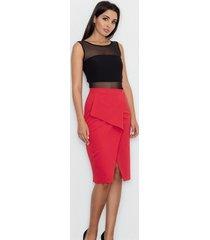spódnica elegancka z klapą czerwona