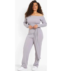 plus geribbelde off shoulder jumpsuit met ceintuur, grey marl