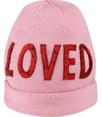 "gucci wool hat with sequin ""loved"" - pink"