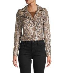 iro women's python-print leather moto jacket - snake - size 38 (6)