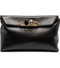 alexander mcqueen crystal-embellished ring-detail clutch bag - black