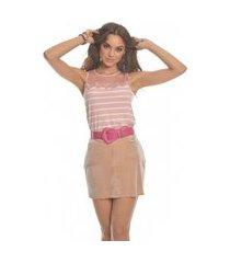 blusa nino danieli regata listrada com renda vlfv80353 rose