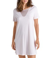 hanro eileen cotton & satin nightgown, size large in rosewater 1352 at nordstrom