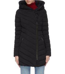 'nadine' asymmetric zip hooded puffer jacket