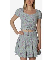 ultra flirt juniors' floral-print smocked skirt