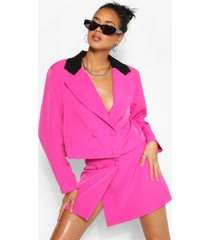 contrast collar double breasted crop blazer, hot pink
