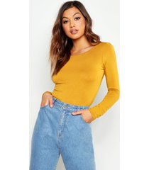 basic round neck long sleeve top, mustard