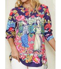 camicetta casual a maniche lunghe con bottoni con stampa floreale vintage della boemia