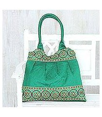 embroidered shoulder bag, 'emerald glamour' (india)