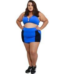 shorts saia fitness corpusfit life com bolso plus size - azul e preto - azul/preto - feminino - dafiti