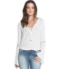 blusa sideral com apliques de renda off white