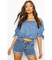 chambray off shoulder tie sleeve top, mid blue