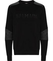 balmain ribbed logo sweatshirt - black