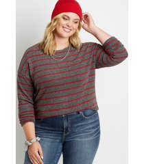 maurices plus size womens red stripe straight hem pullover