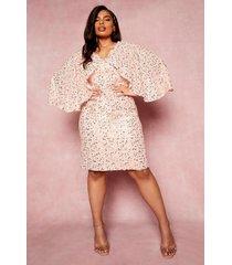 plus gelegenheids midi jurk met pailletten en kimono mouwen, blush