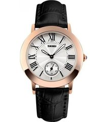 relojes casuales cuarzo para mujer reloj retro con correa cuero impermeable-negro