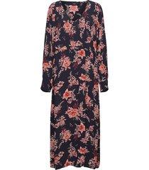 dress floral print plus viscose long sleeves jurk knielengte blauw zizzi