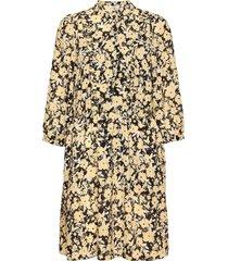 jenessa frix 3/4 dress aop kort klänning brun moss copenhagen