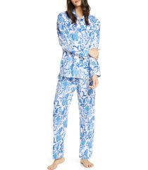 women's roller rabbit amanda floral print pajamas, size small - blue