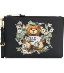 moschino dollar teddy bear clutch - black