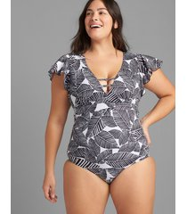 lane bryant women's flutter-sleeve no-wire swim one piece 14 graphic leaves
