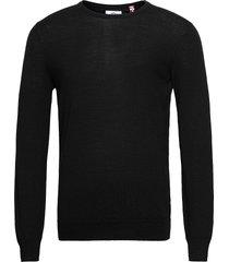 johs merino crew neck knit stickad tröja m. rund krage svart kronstadt