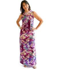 vestido largo estampado capas violeta plica