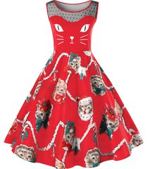 christmas plus size kitten print swing dress