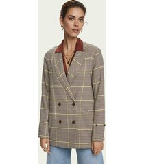 scotch & soda langere geruite double-breasted blazer