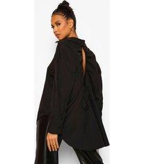 oversized blouse met open rug, black