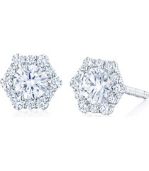 diamond hexagonal stud earrings
