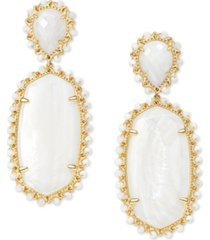 kendra scott silver-tone parsons beaded oval drop earrings