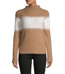 funnel-neck colorblock pullover