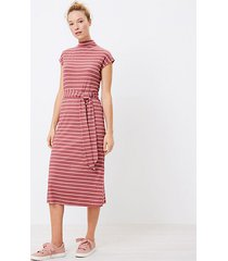 loft petite striped mock neck midi dress